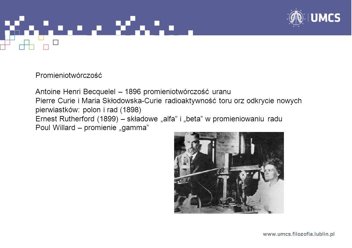Promieniotwórczość Antoine Henri Becquelel – 1896 promieniotwórczość uranu Pierre Curie i Maria Skłodowska-Curie radioaktywność toru orz odkrycie nowy