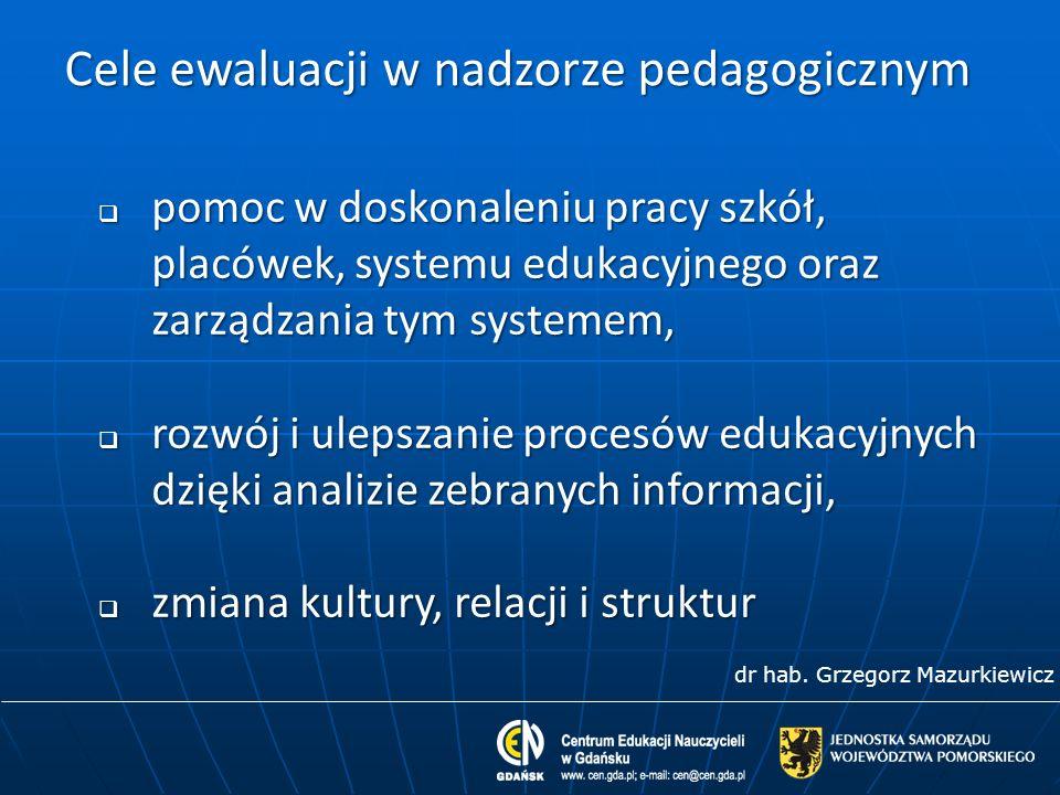 Cele ewaluacji w nadzorze pedagogicznym pomoc w doskonaleniu pracy szkół, placówek, systemu edukacyjnego oraz zarządzania tym systemem, pomoc w doskon