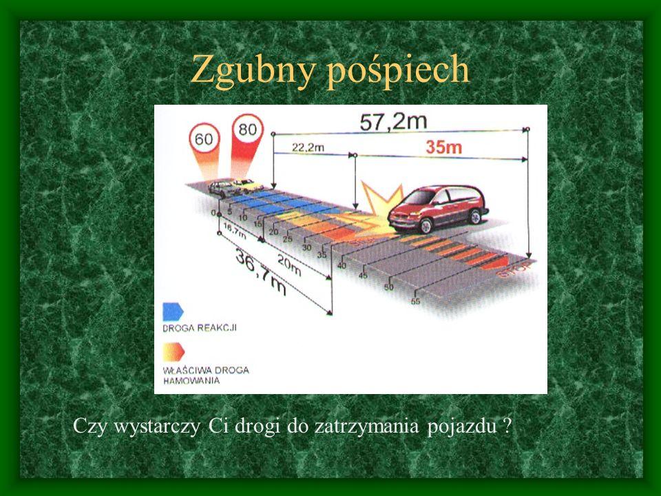 Droga zatrzymania, a prędkość Droga zatrzymania zwiększa się do kwadratu prędkości