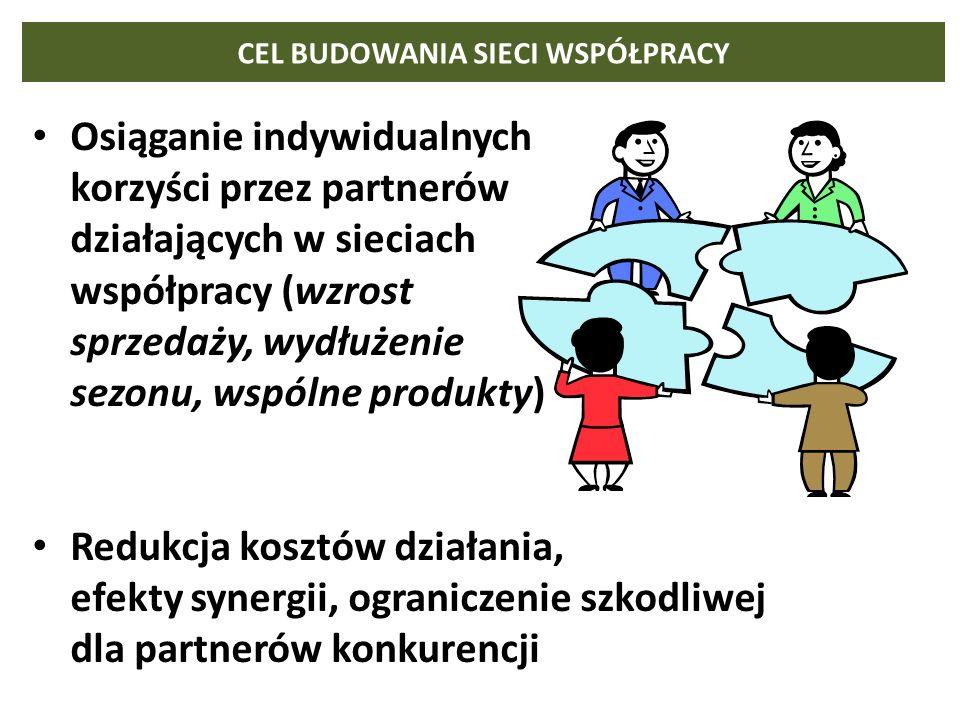 CEL BUDOWANIA SIECI WSPÓŁPRACY Osiąganie indywidualnych korzyści przez partnerów działających w sieciach współpracy (wzrost sprzedaży, wydłużenie sezo