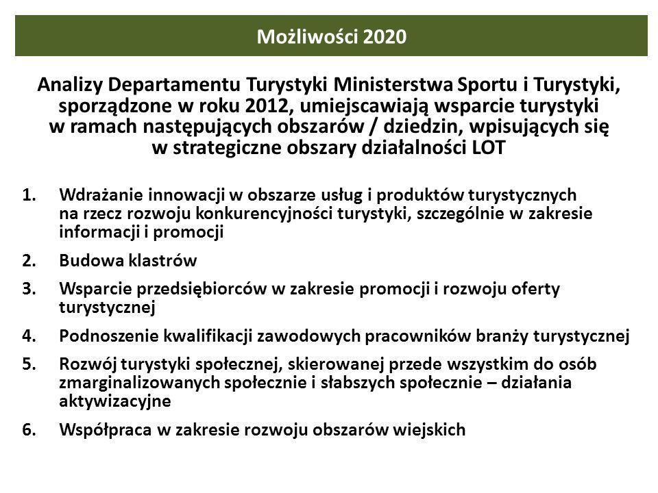 Możliwości 2020 Analizy Departamentu Turystyki Ministerstwa Sportu i Turystyki, sporządzone w roku 2012, umiejscawiają wsparcie turystyki w ramach nas