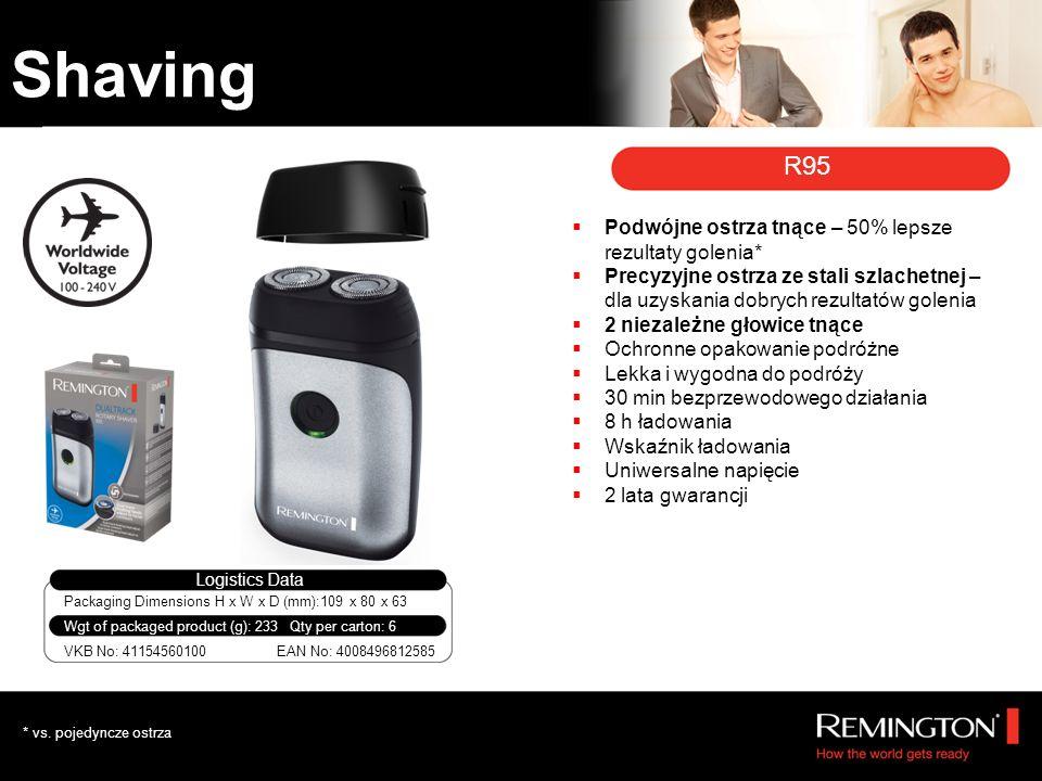 R95 Podwójne ostrza tnące – 50% lepsze rezultaty golenia* Precyzyjne ostrza ze stali szlachetnej – dla uzyskania dobrych rezultatów golenia 2 niezależne głowice tnące Ochronne opakowanie podróżne Lekka i wygodna do podróży 30 min bezprzewodowego działania 8 h ładowania Wskaźnik ładowania Uniwersalne napięcie 2 lata gwarancji Packaging Dimensions H x W x D (mm):109 x 80 x 63 Logistics Data VKB No: 41154560100 Qty per carton: 6Wgt of packaged product (g): 233 EAN No: 4008496812585 * vs.