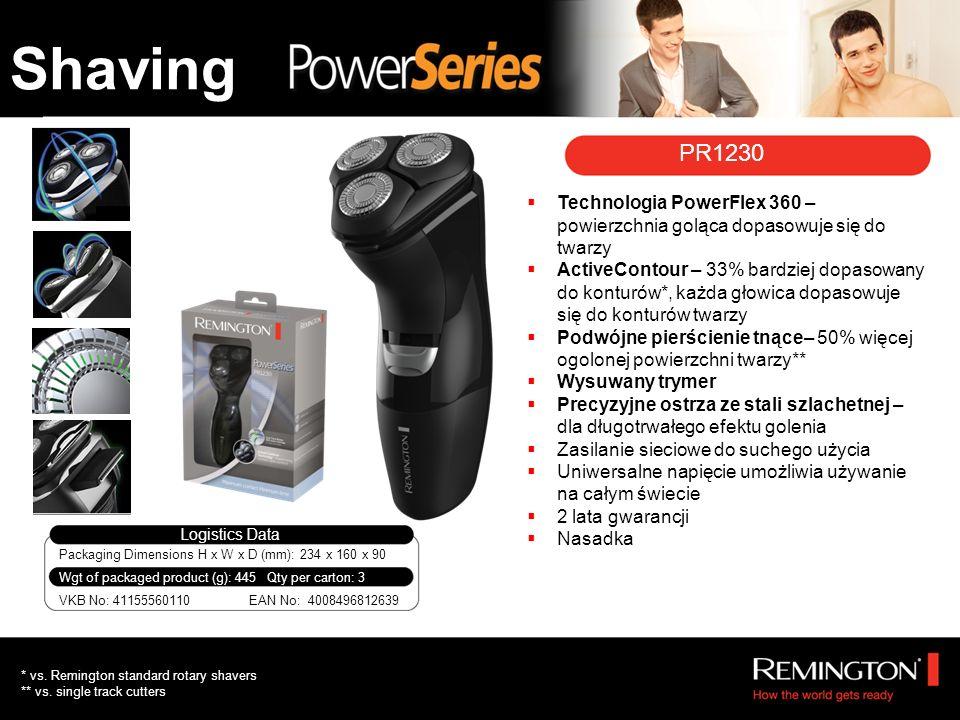 PR1230 Technologia PowerFlex 360 – powierzchnia goląca dopasowuje się do twarzy ActiveContour – 33% bardziej dopasowany do konturów*, każda głowica dopasowuje się do konturów twarzy Podwójne pierścienie tnące– 50% więcej ogolonej powierzchni twarzy** Wysuwany trymer Precyzyjne ostrza ze stali szlachetnej – dla długotrwałego efektu golenia Zasilanie sieciowe do suchego użycia Uniwersalne napięcie umożliwia używanie na całym świecie 2 lata gwarancji Nasadka * vs.