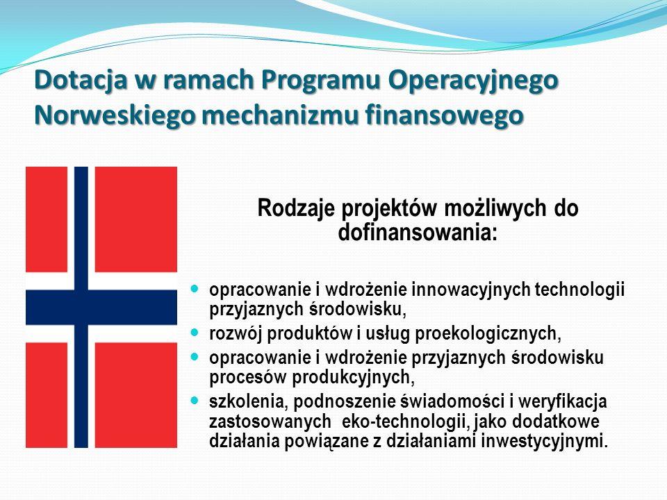 Dotacja w ramach Programu Operacyjnego Norweskiego mechanizmu finansowego Rodzaje projektów możliwych do dofinansowania: opracowanie i wdrożenie innow