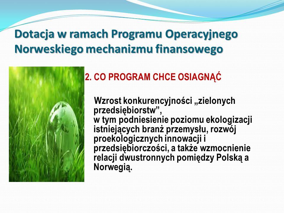 2. CO PROGRAM CHCE OSIAGNĄĆ Wzrost konkurencyjności zielonych przedsiębiorstw, w tym podniesienie poziomu ekologizacji istniejących branż przemysłu, r