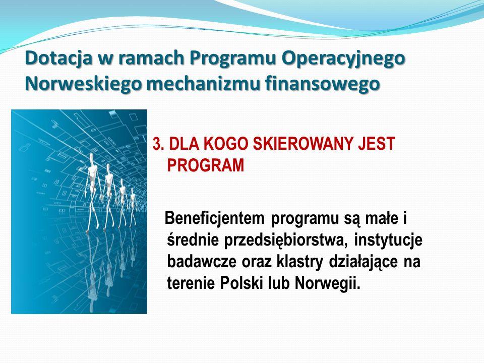 Dotacja w ramach Programu Operacyjnego Norweskiego mechanizmu finansowego 3. DLA KOGO SKIEROWANY JEST PROGRAM Beneficjentem programu są małe i średnie