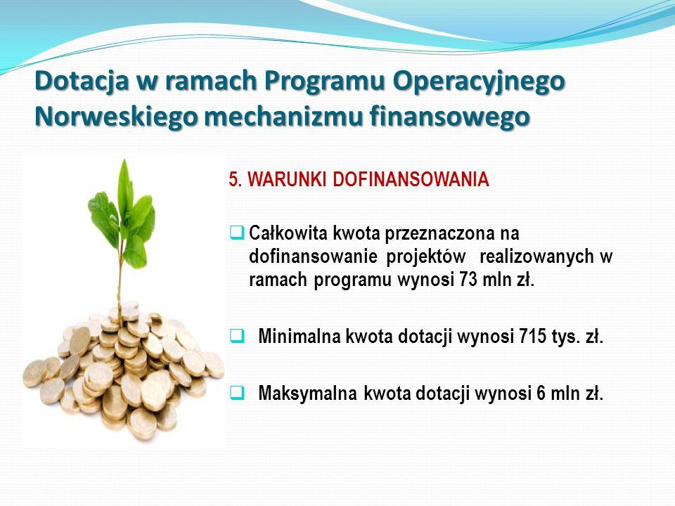 Dotacja w ramach Programu Operacyjnego Norweskiego mechanizmu finansowego 5. WARUNKI DOFINANSOWANIA Całkowita kwota przeznaczona na dofinansowanie pro