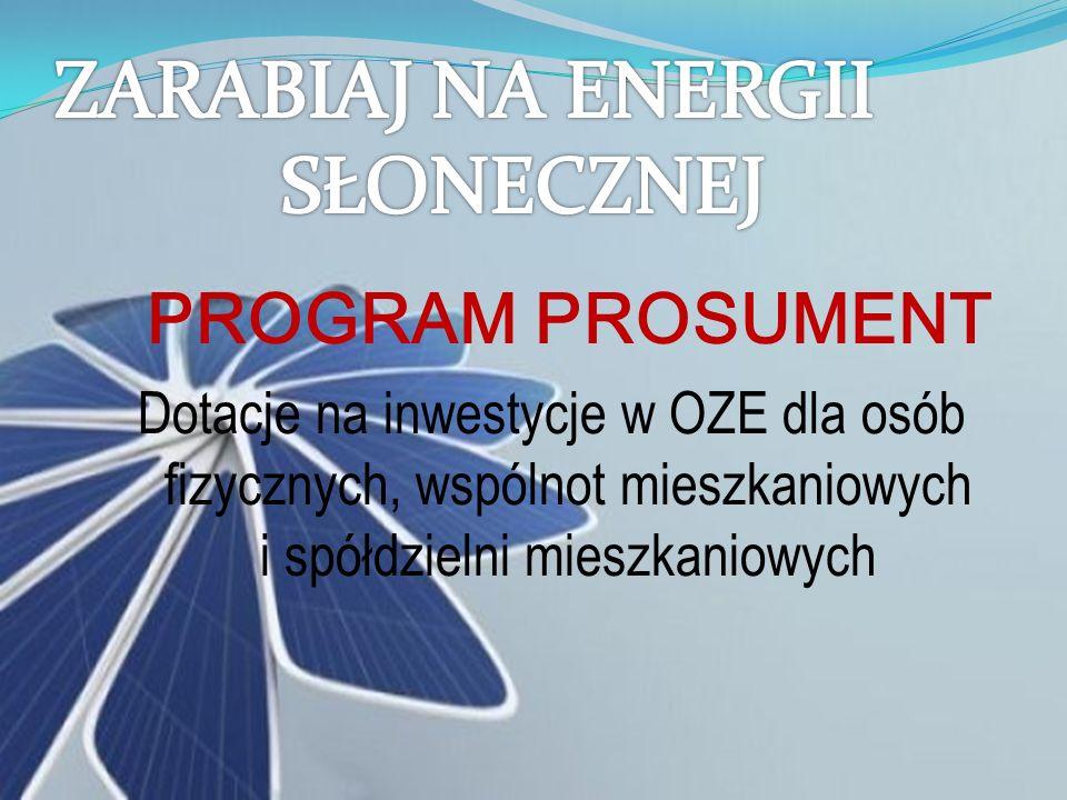 PROGRAM PROSUMENT Dotacje na inwestycje w OZE dla osób fizycznych, wspólnot mieszkaniowych i spółdzielni mieszkaniowych
