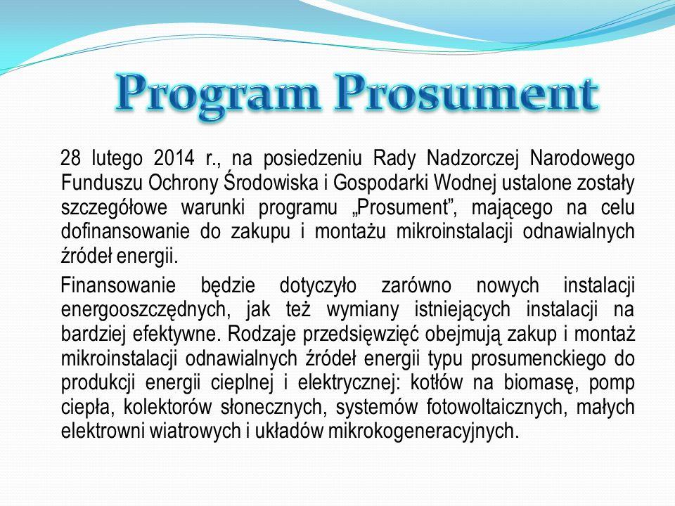 28 lutego 2014 r., na posiedzeniu Rady Nadzorczej Narodowego Funduszu Ochrony Środowiska i Gospodarki Wodnej ustalone zostały szczegółowe warunki prog