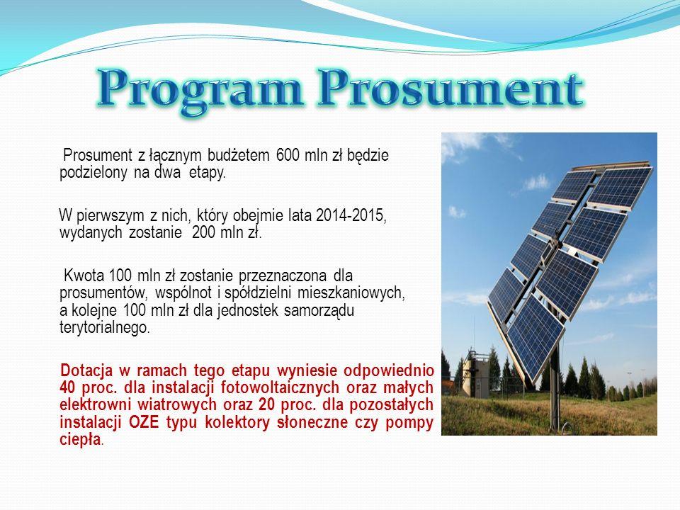Prosument z łącznym budżetem 600 mln zł będzie podzielony na dwa etapy. W pierwszym z nich, który obejmie lata 2014-2015, wydanych zostanie 200 mln zł