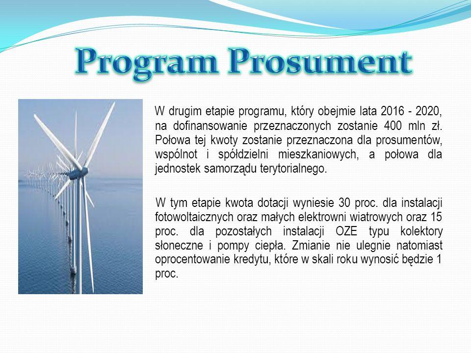 W drugim etapie programu, który obejmie lata 2016 - 2020, na dofinansowanie przeznaczonych zostanie 400 mln zł. Połowa tej kwoty zostanie przeznaczona