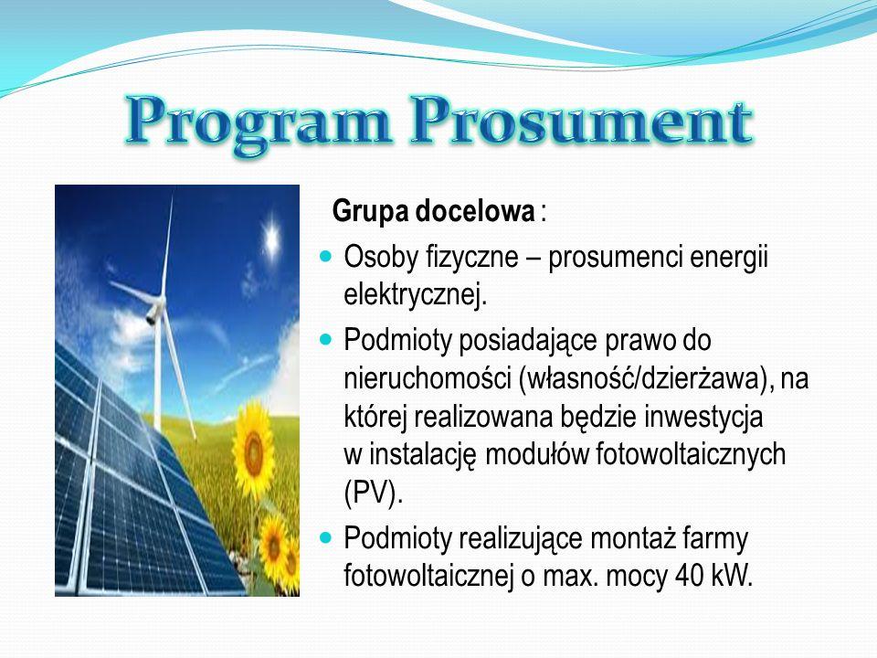 Grupa docelowa : Osoby fizyczne – prosumenci energii elektrycznej. Podmioty posiadające prawo do nieruchomości (własność/dzierżawa), na której realizo