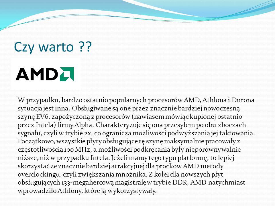 Czy warto ?? W przypadku, bardzo ostatnio popularnych procesorów AMD, Athlona i Durona sytuacja jest inna. Obsługiwane są one przez znacznie bardziej