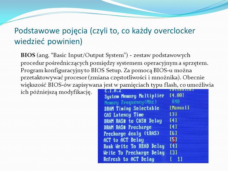 Podstawowe pojęcia (czyli to, co każdy overclocker wiedzieć powinien) BIOS (ang. Basic Input/Output System) - zestaw podstawowych procedur pośredniczą