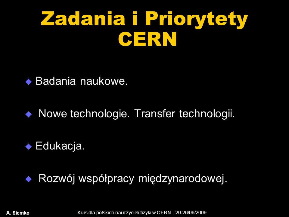 Kurs dla polskich nauczycieli fizyki w CERN 20-26/09/2009 A. Siemko Zadania i Priorytety CERN Badania naukowe. Nowe technologie. Transfer technologii.