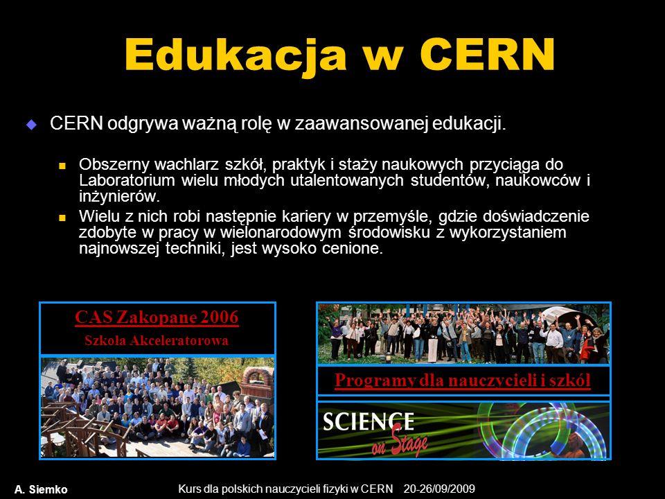 Kurs dla polskich nauczycieli fizyki w CERN 20-26/09/2009 A. Siemko Edukacja w CERN CERN odgrywa ważną rolę w zaawansowanej edukacji. Obszerny wachlar