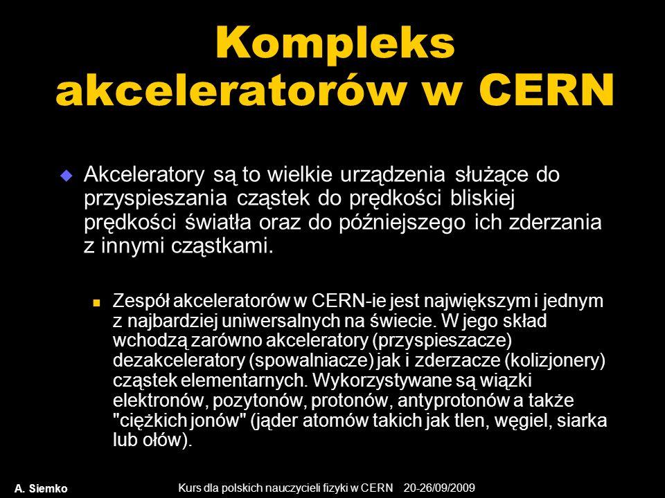 Kurs dla polskich nauczycieli fizyki w CERN 20-26/09/2009 A. Siemko Kompleks akceleratorów w CERN Akceleratory są to wielkie urządzenia służące do prz