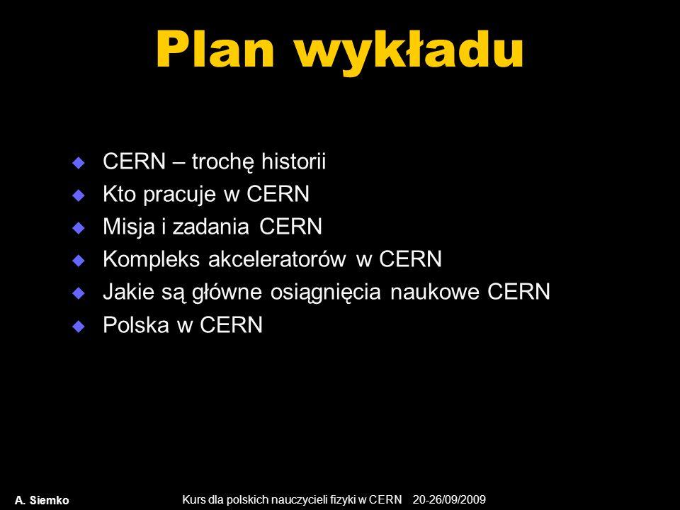 Kurs dla polskich nauczycieli fizyki w CERN 20-26/09/2009 A. Siemko Plan wykładu CERN – trochę historii Kto pracuje w CERN Misja i zadania CERN Komple