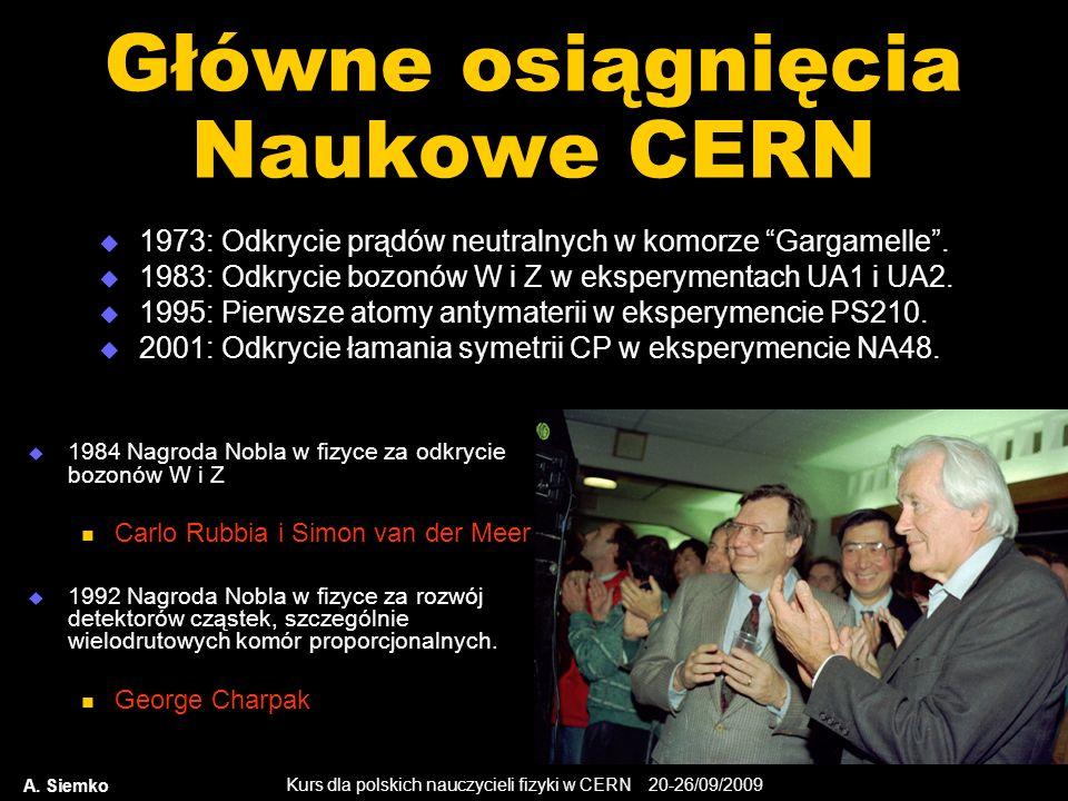 Kurs dla polskich nauczycieli fizyki w CERN 20-26/09/2009 A. Siemko Główne osiągnięcia Naukowe CERN 1973: Odkrycie prądów neutralnych w komorze Gargam