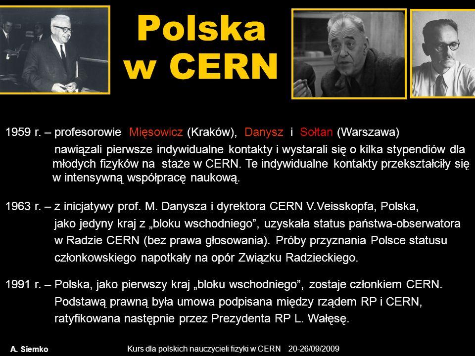 Kurs dla polskich nauczycieli fizyki w CERN 20-26/09/2009 Polska w CERN A. Siemko 1959 r. – profesorowie Mięsowicz (Kraków), Danysz i Sołtan (Warszawa