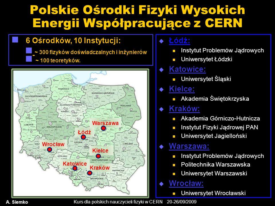 Kurs dla polskich nauczycieli fizyki w CERN 20-26/09/2009 Polskie Ośrodki Fizyki Wysokich Energii Współpracujące z CERN Łódź: Instytut Problemów Jądro