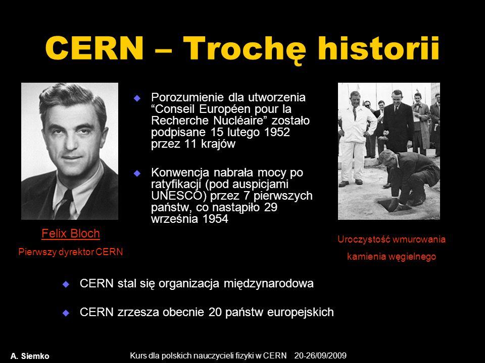 Kurs dla polskich nauczycieli fizyki w CERN 20-26/09/2009 A. Siemko CERN – Trochę historii Porozumienie dla utworzeniaConseil Européen pour la Recherc