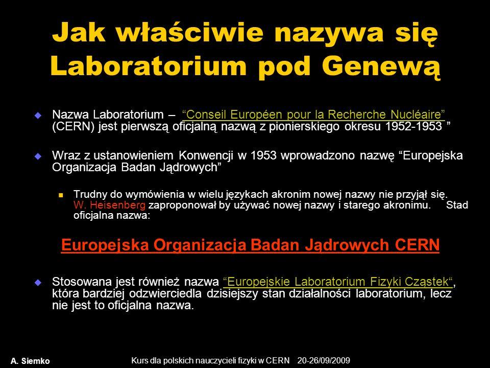 Kurs dla polskich nauczycieli fizyki w CERN 20-26/09/2009 A. Siemko Jak właściwie nazywa się Laboratorium pod Genewą Nazwa Laboratorium – Conseil Euro