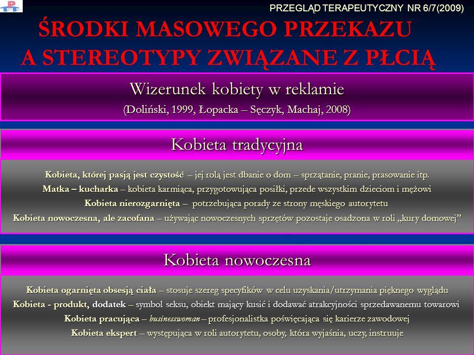 ŚRODKI MASOWEGO PRZEKAZU A STEREOTYPY ZWIĄZANE Z PŁCIĄ Wizerunek kobiety w reklamie (Doliński, 1999, Łopacka – Sęczyk, Machaj, 2008) Kobieta tradycyjn