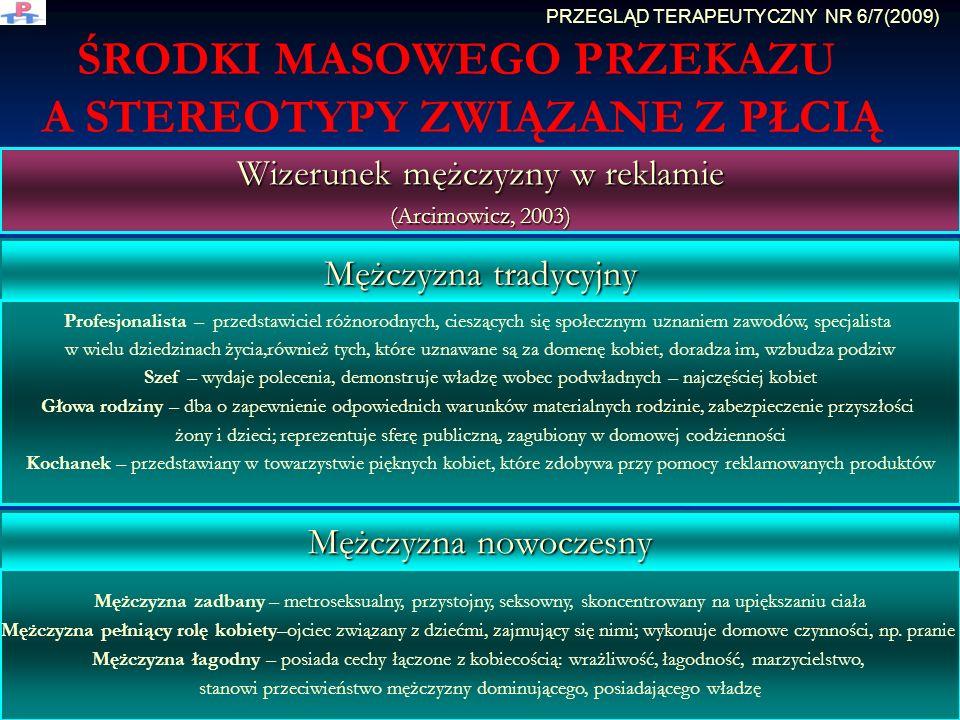 ŚRODKI MASOWEGO PRZEKAZU A STEREOTYPY ZWIĄZANE Z PŁCIĄ Wizerunek mężczyzny w reklamie (Arcimowicz, 2003) Mężczyzna tradycyjny Mężczyzna nowoczesny Pro