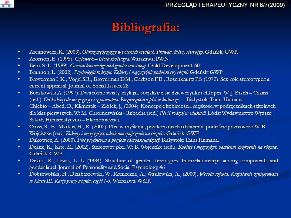 Bibliografia: Arcimowicz, K. (2003). Obraz mężczyzny w polskich mediach. Prawda, fałsz, stereotyp. Gdańsk: GWP. Arcimowicz, K. (2003). Obraz mężczyzny