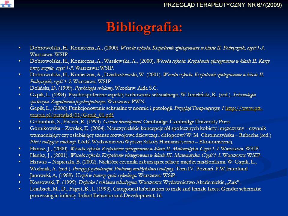 Bibliografia: Dobrowolska, H., Konieczna, A., (2000). Wesoła szkoła. Kształcenie zintegrowane w klasie II. Podręcznik, część 1-3. Warszawa: WSIP. Dobr