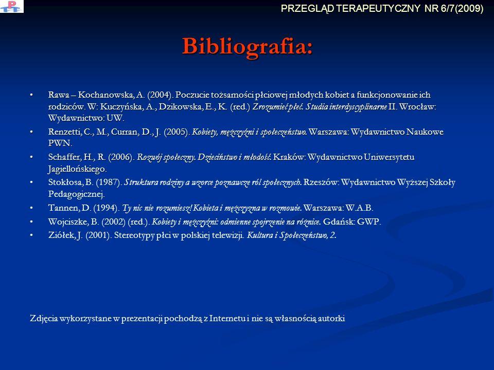 Bibliografia: Rawa – Kochanowska, A. (2004). Poczucie tożsamości płciowej młodych kobiet a funkcjonowanie ich rodziców. W: Kuczyńska, A., Dzikowska, E