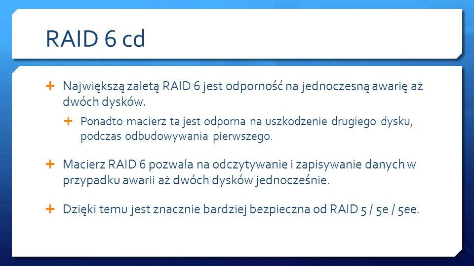 RAID 6 cd Największą zaletą RAID 6 jest odporność na jednoczesną awarię aż dwóch dysków. Ponadto macierz ta jest odporna na uszkodzenie drugiego dysku
