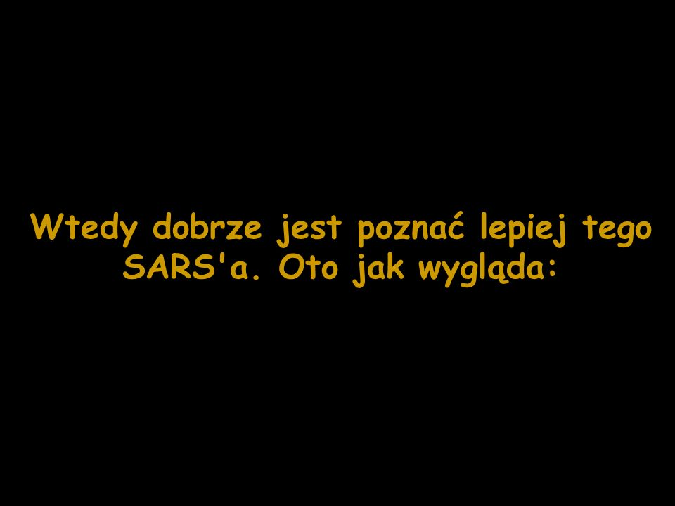 Wtedy dobrze jest poznać lepiej tego SARS'a. Oto jak wygląda: