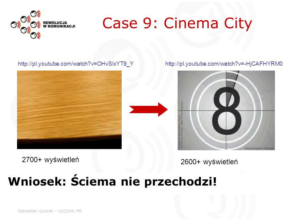 Sebastian Łuczak – ŁUCZAK PR Case 9: Cinema City Wniosek: Ściema nie przechodzi! 2700+ wyświetleń 2600+ wyświetleń http://pl.youtube.com/watch?v=OHvSl