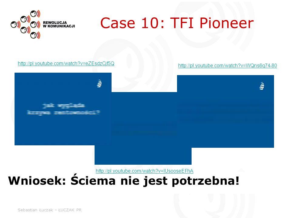 Sebastian Łuczak – ŁUCZAK PR Case 10: TFI Pioneer Wniosek: Ściema nie jest potrzebna! http://pl.youtube.com/watch?v=eZEsdzCjf5Q http://pl.youtube.com/