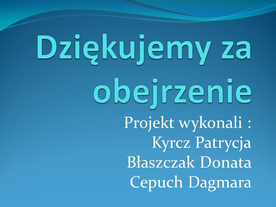 Projekt wykonali : Kyrcz Patrycja Błaszczak Donata Cepuch Dagmara