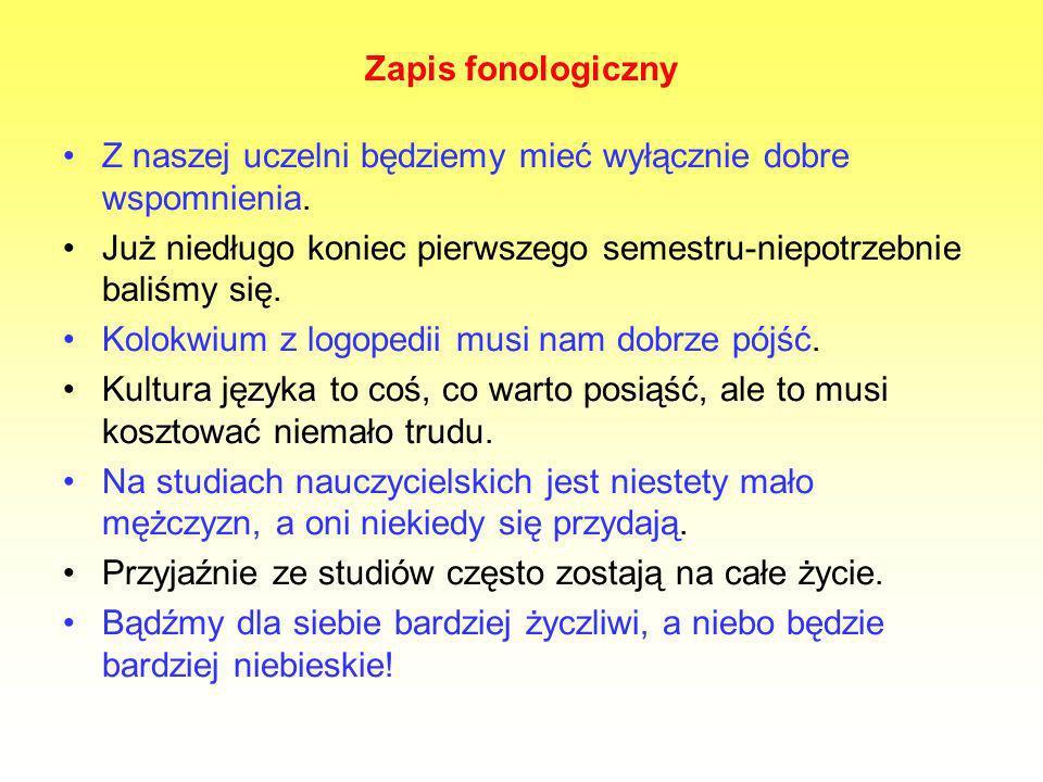 Zapis fonologiczny Z naszej uczelni będziemy mieć wyłącznie dobre wspomnienia.