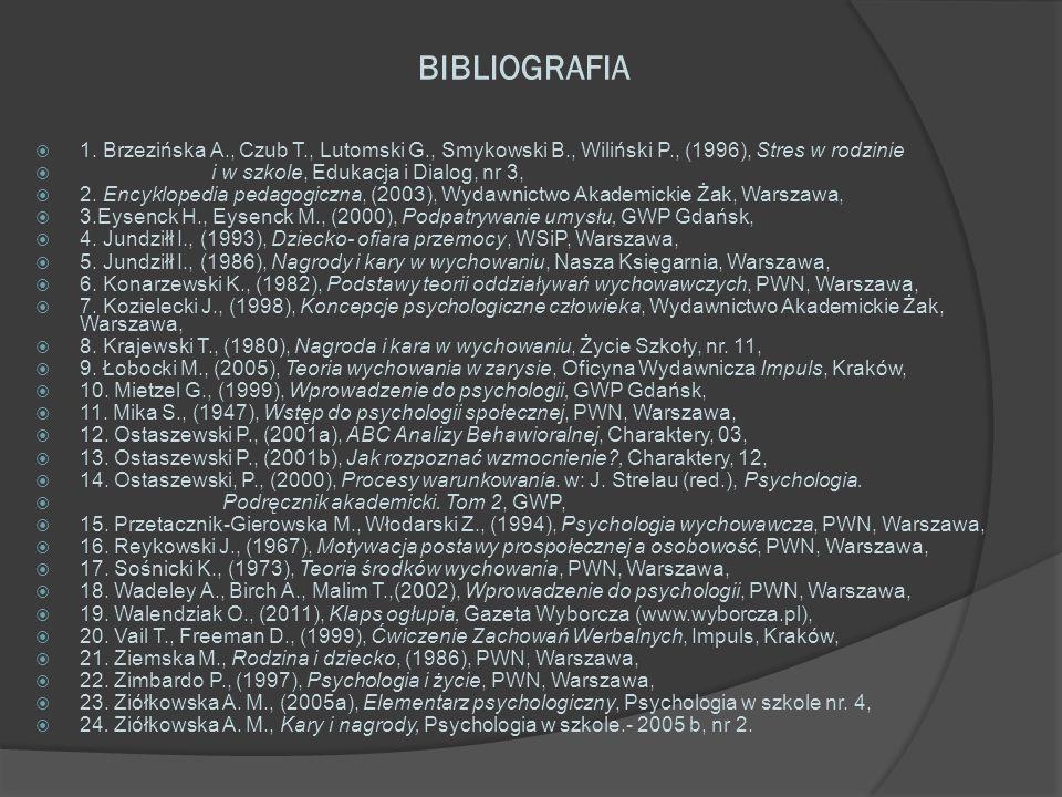 BIBLIOGRAFIA 1. Brzezińska A., Czub T., Lutomski G., Smykowski B., Wiliński P., (1996), Stres w rodzinie i w szkole, Edukacja i Dialog, nr 3, 2. Encyk