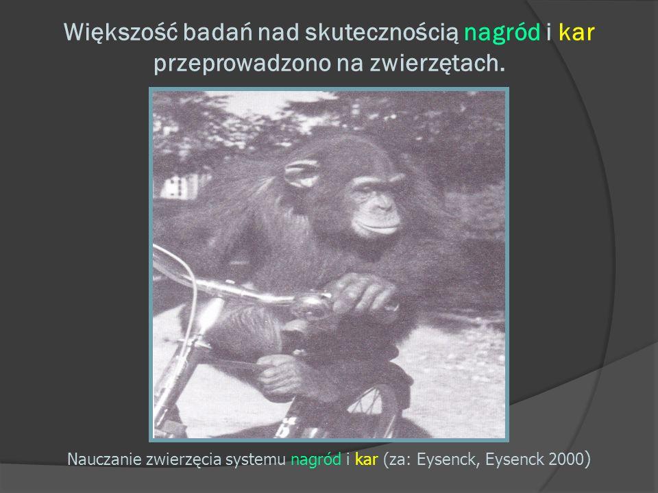 Większość badań nad skutecznością nagród i kar przeprowadzono na zwierzętach. Nauczanie zwierzęcia systemu nagród i kar (za: Eysenck, Eysenck 2000 )