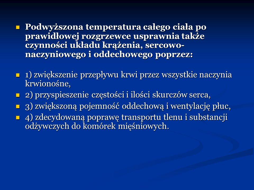 Ogólne zasady prawidłowej rozgrzewki: - powinna trwać od 15 do 30 minut, ponieważ jest to czas wystarczający do osiągnięcia koniecznej temperatury całego ciała; - powinna trwać od 15 do 30 minut, ponieważ jest to czas wystarczający do osiągnięcia koniecznej temperatury całego ciała; - ćwiczenia w części początkowej powinny przebiegać z 25 – 50% intensywnością, którą stopniowo powinniśmy zwiększać do 70 – 80%; - ćwiczenia w części początkowej powinny przebiegać z 25 – 50% intensywnością, którą stopniowo powinniśmy zwiększać do 70 – 80%; - przy wyborze określonych ćwiczeń do rozgrzewki należy zwracać uwagę na ich przydatność oraz fizjologiczną nieszkodliwość; - przy wyborze określonych ćwiczeń do rozgrzewki należy zwracać uwagę na ich przydatność oraz fizjologiczną nieszkodliwość; - ćwiczenia koordynacyjne powinny być przeprowadzane obustronnie; - ćwiczenia koordynacyjne powinny być przeprowadzane obustronnie; - ważnym elementem każdej rozgrzewki jest stosowanie odpowiednich ćwiczeń rozciągających (5 – 10 minut na początku i 5 – 10 minut na końcu); - ważnym elementem każdej rozgrzewki jest stosowanie odpowiednich ćwiczeń rozciągających (5 – 10 minut na początku i 5 – 10 minut na końcu); - powinna być ukierunkowana na konkretny cel i rodzaj wysiłku fizycznego.