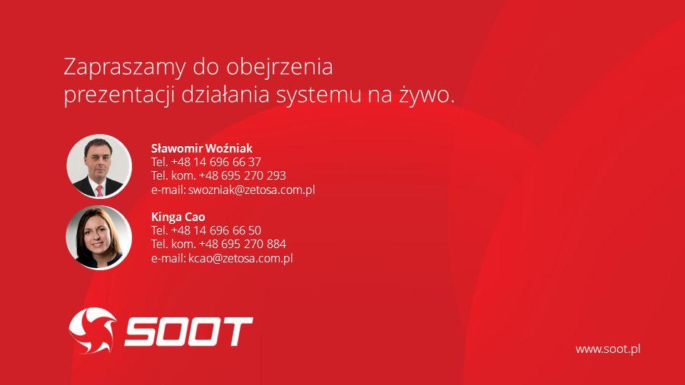 Sławomir Woźniak Tel. +48 14 696 66 37 Tel. kom. +48 695 270 293 e-mail: swozniak@zetosa.com.pl Kinga Cao Tel. +48 14 696 66 50 Tel. kom. +48 695 270