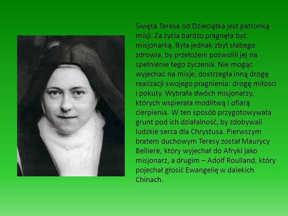 Święta Teresa od Dzieciątka jest patronką misji. Za życia bardzo pragnęła być misjonarką. Była jednak zbyt słabego zdrowia, by przełożeni pozwolili je