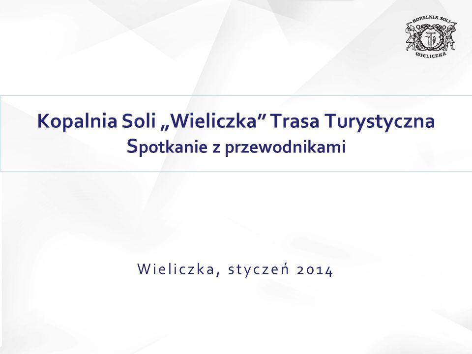Liczba turystów w latach 2009 - 2013 W 2013 roku Kopalnię Soli Wieliczka zwiedziło 1 209 708 gości, o 8% więcej niż w 2012 roku.