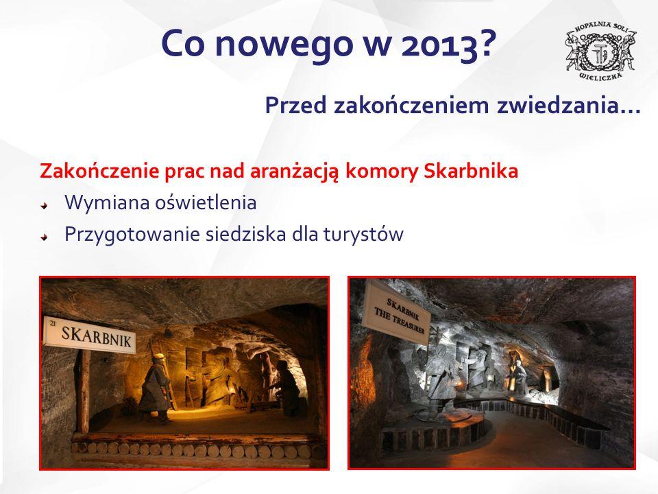 Zakończenie prac nad aranżacją komory Skarbnika Wymiana oświetlenia Przygotowanie siedziska dla turystów Co nowego w 2013? Przed zakończeniem zwiedzan