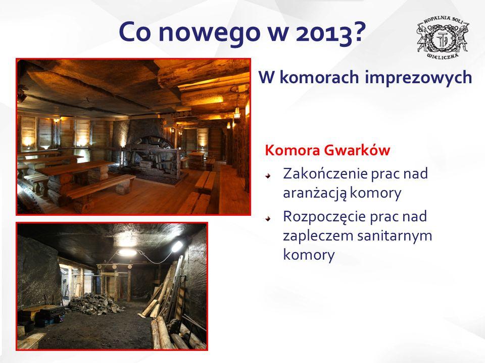 Komora Gwarków Zakończenie prac nad aranżacją komory Rozpoczęcie prac nad zapleczem sanitarnym komory Co nowego w 2013? W komorach imprezowych