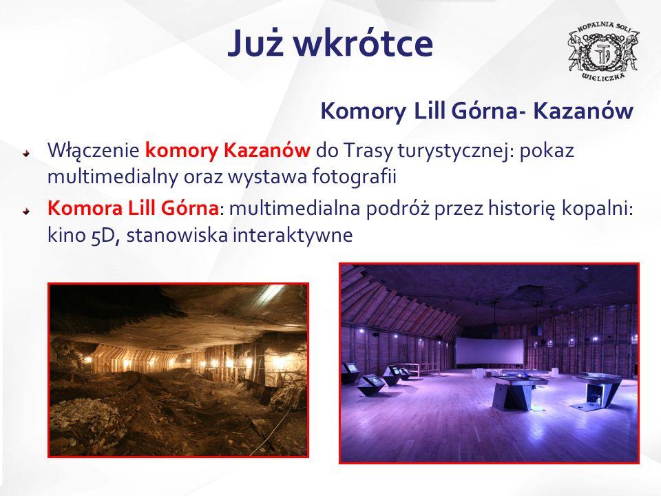 Już wkrótce Komory Lill Górna- Kazanów Włączenie komory Kazanów do Trasy turystycznej: pokaz multimedialny oraz wystawa fotografii Komora Lill Górna: multimedialna podróż przez historię kopalni: kino 5D, stanowiska interaktywne