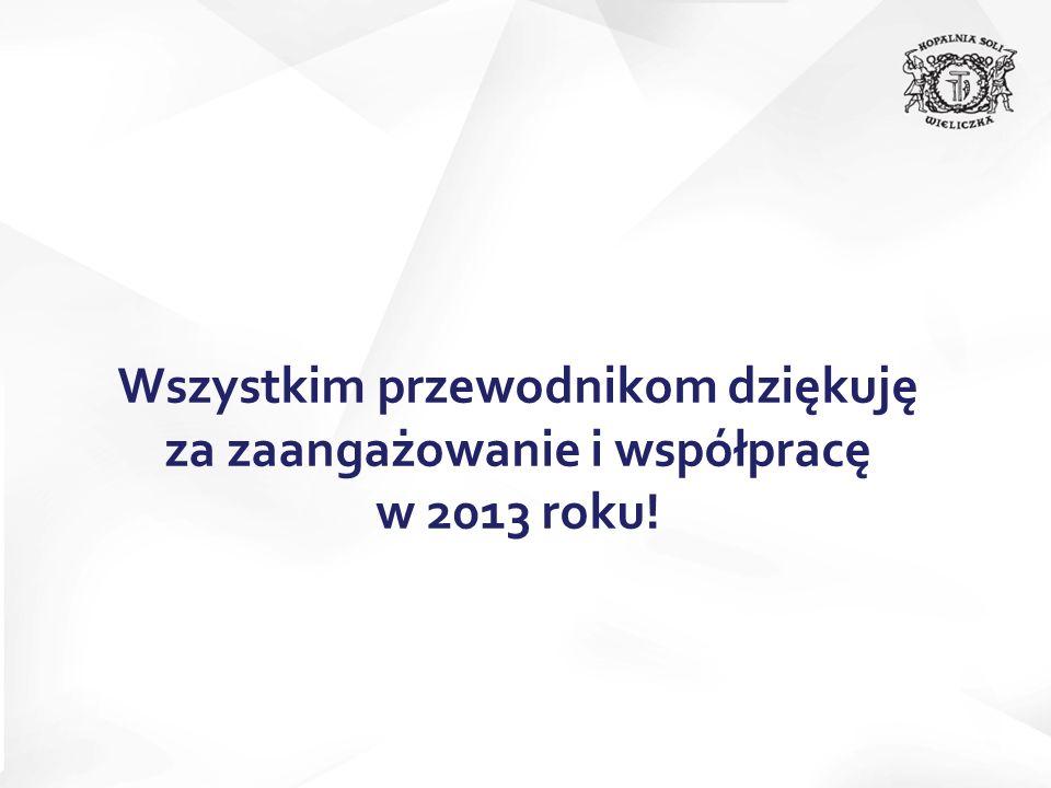 Wszystkim przewodnikom dziękuję za zaangażowanie i współpracę w 2013 roku!
