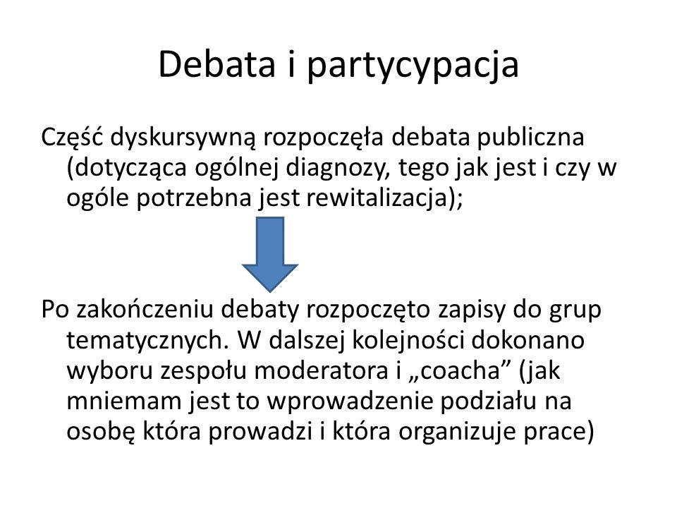Debata i partycypacja Część dyskursywną rozpoczęła debata publiczna (dotycząca ogólnej diagnozy, tego jak jest i czy w ogóle potrzebna jest rewitalizacja); Po zakończeniu debaty rozpoczęto zapisy do grup tematycznych.