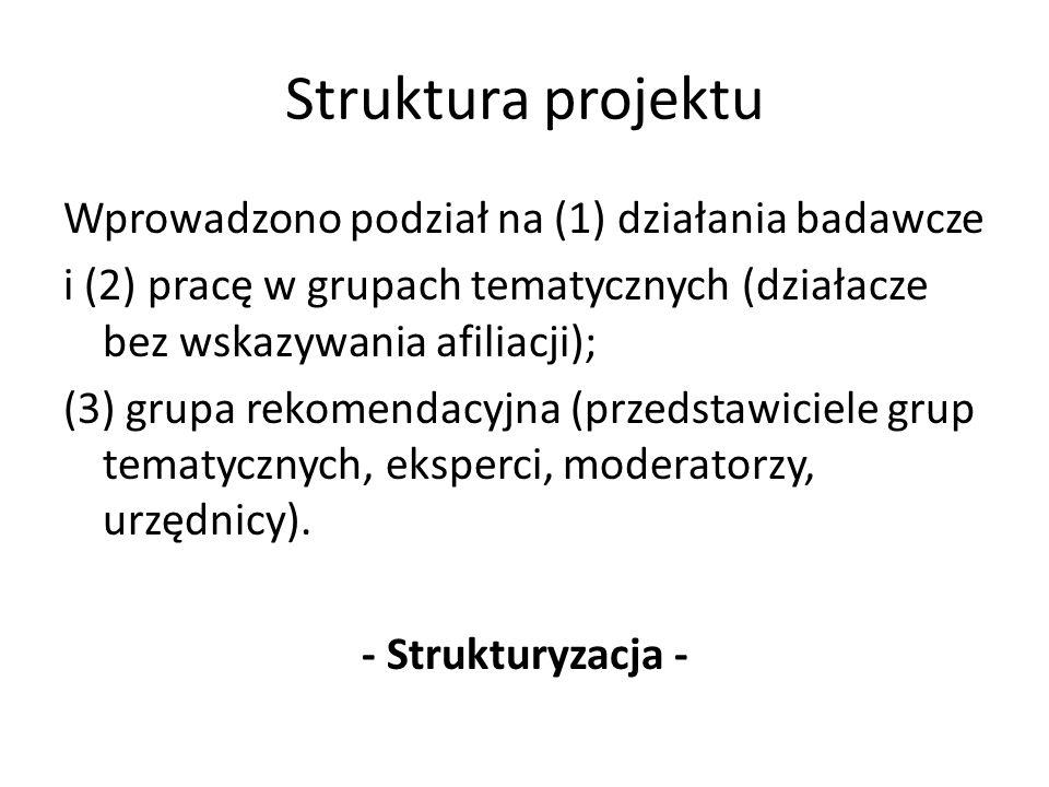 Struktura projektu Wprowadzono podział na (1) działania badawcze i (2) pracę w grupach tematycznych (działacze bez wskazywania afiliacji); (3) grupa rekomendacyjna (przedstawiciele grup tematycznych, eksperci, moderatorzy, urzędnicy).